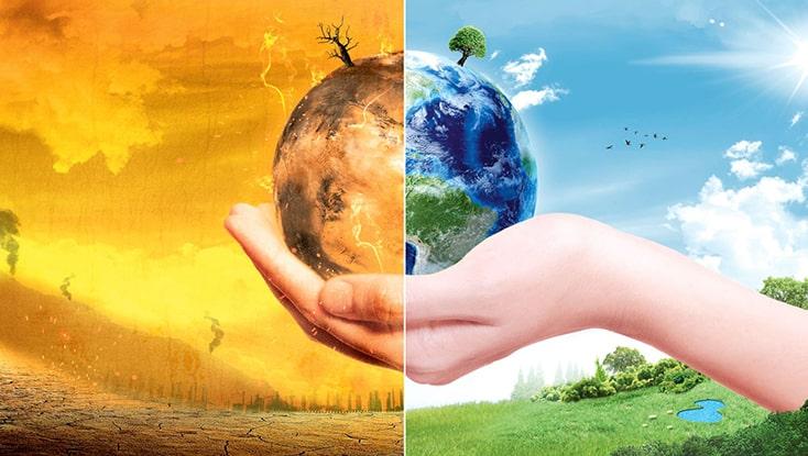planeta klimatske promene ilustracija